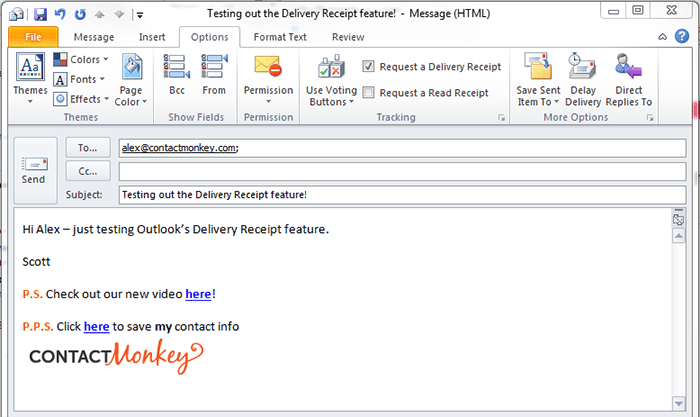outlook delivery receipt