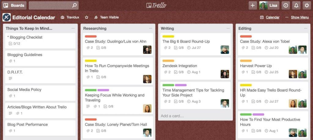 Trello for online collaboration