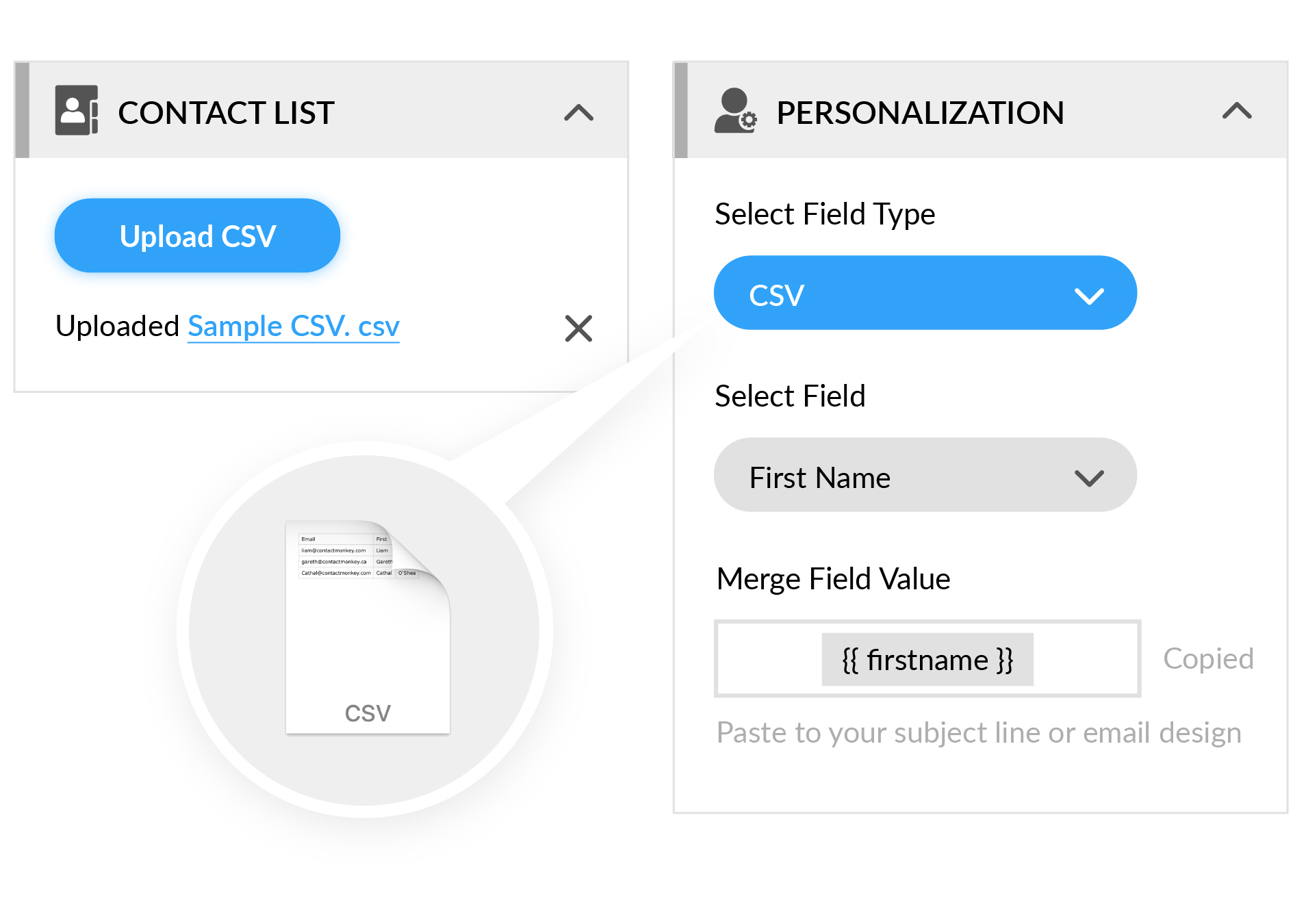 send employee email csv