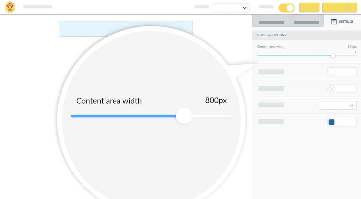email designer content width