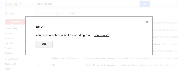 gmail sending error message